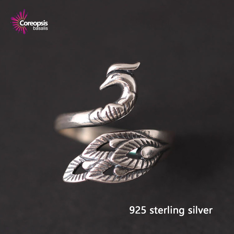Retro style Phoenix 925 sterling silver open ring for women fashion peacock the tail rings freeshipping