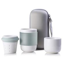 4pcs/set Travel Mugs Tea Set Ceramic Cups and Coffee Mugs with Lid Taza Glass Water Bottle Teacup Coffee Mugs Tea cups Tumbler