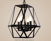 A1 Wholesale industry wind retro cafe bar antique chandelier iron cage creative glass candlestick Chandelier GY104