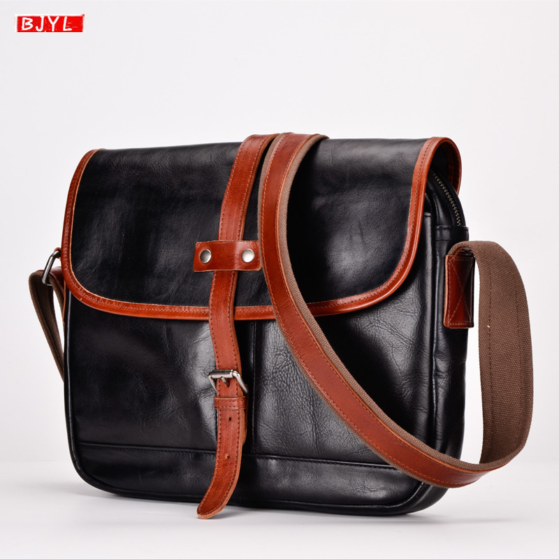 BJYL new Pure leather retro men Messenger bag male genuine leather shoulder bag first layer leather slung small crossbody bagsBJYL new Pure leather retro men Messenger bag male genuine leather shoulder bag first layer leather slung small crossbody bags