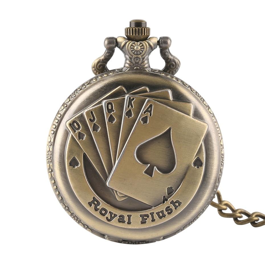 Royal Flush Poker Card Design Fashion Bronze Men Women Quartz Pocket Watch with Vintage Chain for Unique Gifts