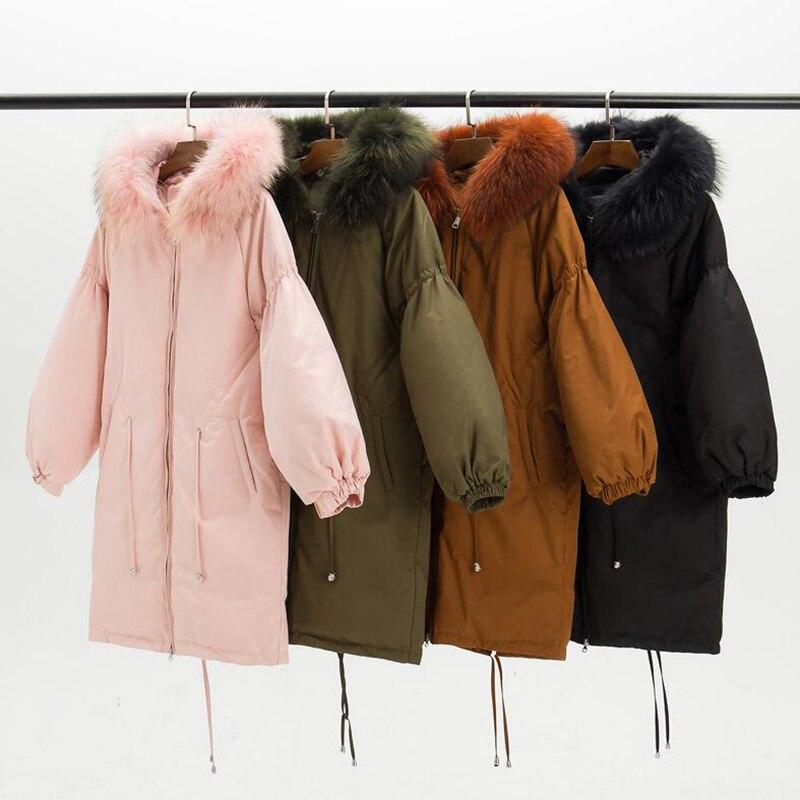 Big fur collar   Down     Coat   Women 2018 Winter Jackets Big size Thicken Warm Parka Long Outerwear White Duck   Down   Jacket