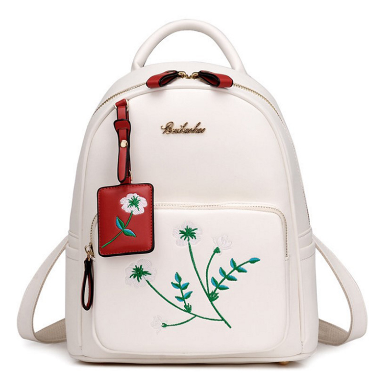 Embroidery PU Leather Backpack Women Large Capacity Back Pack Travel Portable Shoulder Bags Girl School Bag Fashion Backpacks 2016 new backpack funny lovely style school backpacks quality pu leather fashion women shoulder bag travel back pack square bag