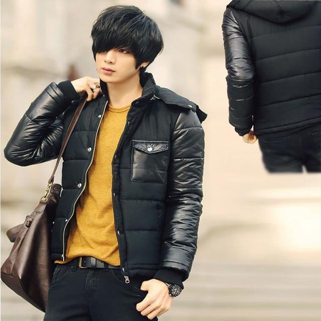 2014 New Fashion Men Slim Collar Hooded Warm Coat Jacket Free Shipping Hot Size M / L / XL / XXL WD0238