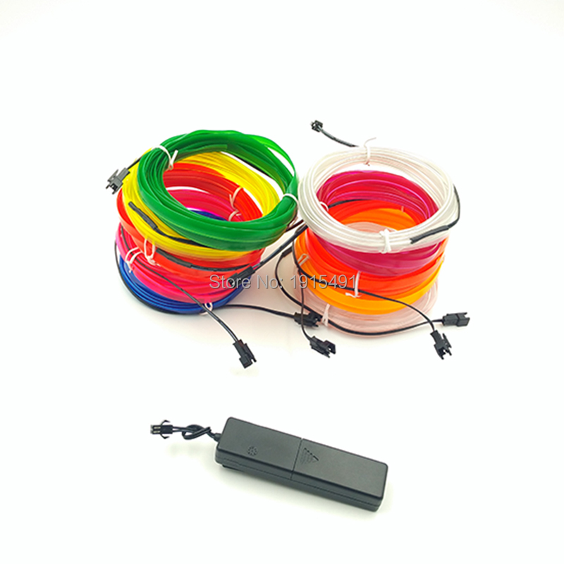 DC-3V Sound Activation Driver+4Meter 2.3mm-skirt EL Wire rope 10 Color Select LED Strip Glowing For Car Interior Decoration