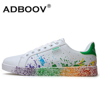 Boys Brand White Shoes Mix Colors Ink Painting Style Mens Shoes Colorful White Mans Shoes Plus