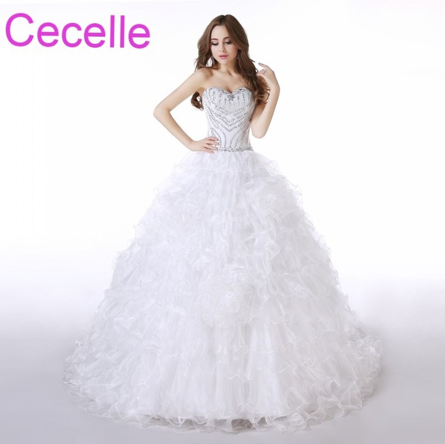 Ball Gown Princess Long Wedding Dresses 2018 Beaded Crystals Tiered ...