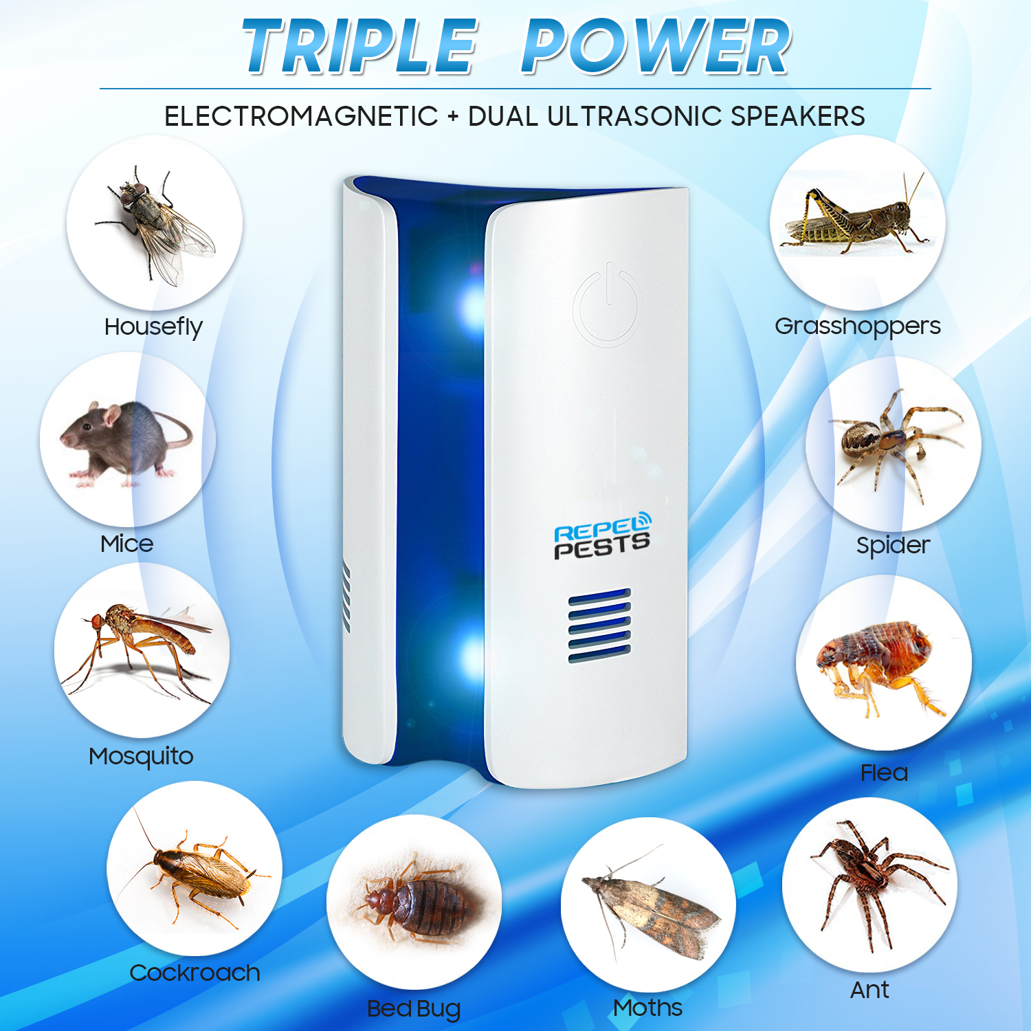Frequency Conversion Ultrasonic Electronic Mosquito Killer Repellent Mice Cockroach Mosquitoes Moths Insect Killer Pest Control