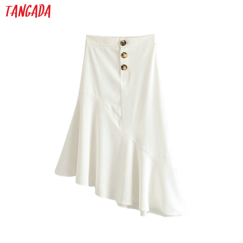 Tangada  women white asymmetrical skirts 2019 fashion korean ladies buttons mid pleated skirts faldas mujer 6A238(China)