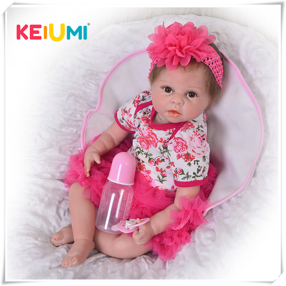 22inch 55cm Silicone baby reborn dolls, lifelike doll reborn babies toys for girl  gift brinquedos for childs best girl toys 2017