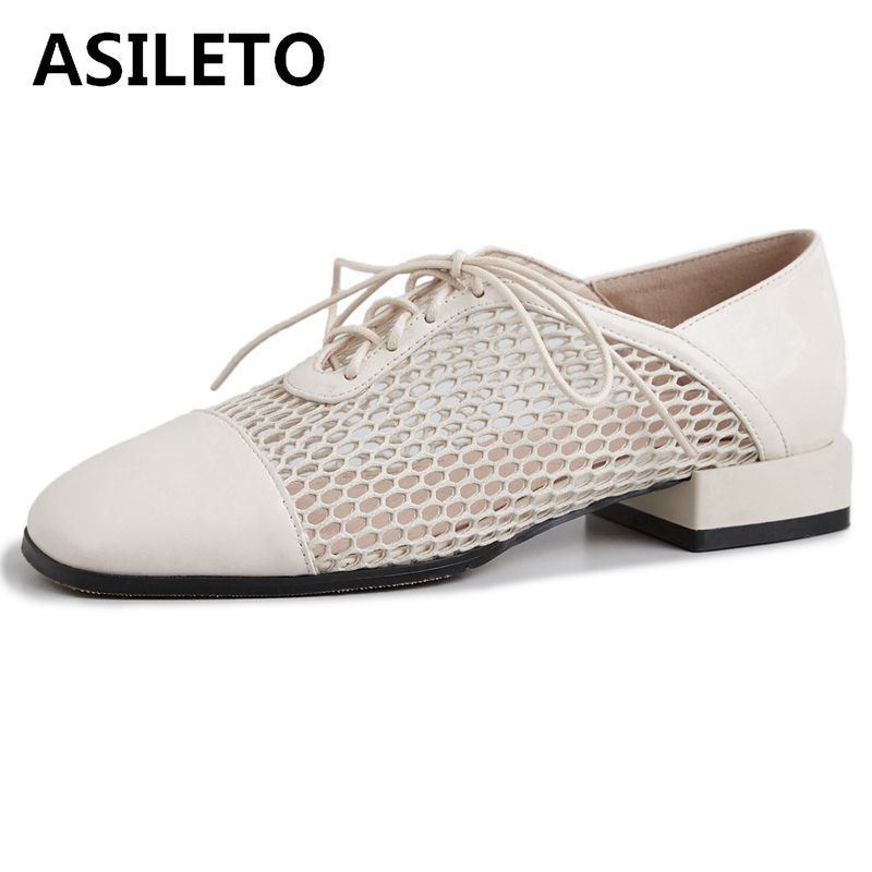 ASILETO Women loafers shoes Genuine leather flats breathable mesh lace up shoes brogues creepers ladies cross