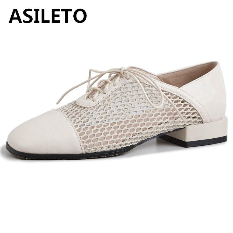 Asileto 여성 로퍼 신발 정품 가죽 플랫 통기성 메쉬 레이스 업 신발 brogues creepers ladies cross tied zapatillas-에서여성용 플랫부터 신발 의  그룹 1