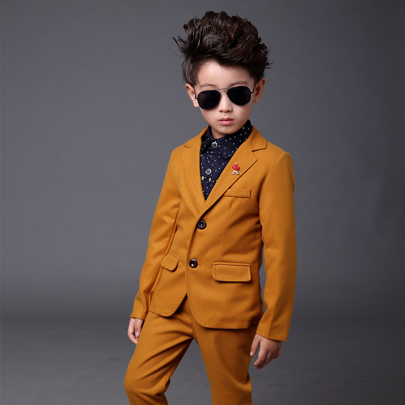 Orange Kids Suits Slim Kid Gentleman Boy Dress For Party 4parts Shirt jacket  pant brooch Child Costume Baby clothes -in Suits from Mother   Kids on ... 433833857af9