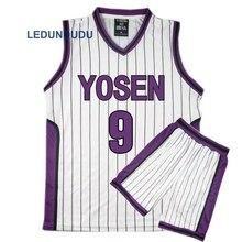 Kuroko לא Basuke סל קוספליי Yosen בית ספר מדים Murasakibara Atsushi ג רזי 9 12 ספורט גברים חולצה מכנסיים קצרים תלבושות סט