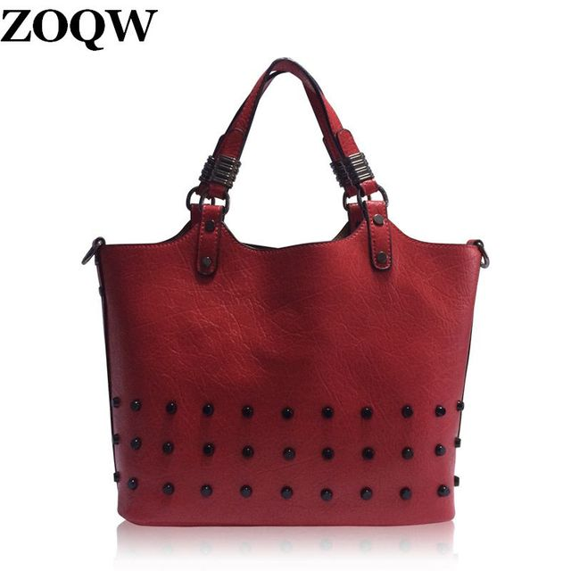 735733bb7db4 2018 Fashion Rivet Teenage Girls Sacks School Handbags Famous Designer Made  Of PU Lady Hot OL Office Travel Shoulder Bag WUJ0245