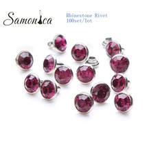 100Set 8mm Fushia CZ A+++ Copper Spikes and Studs Crystal Rhinestone Rivets For Leather Clothes Bags Shoes Decorative Crafts