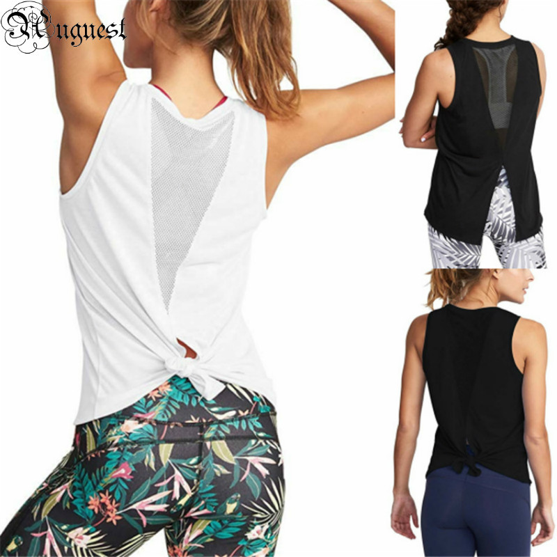 Uguest Women's Shirts For Summer O-neck Sleeveless Bow Hollow Out Plain Cotton T-shirt Sports Wear For Women Gym Casual Tops