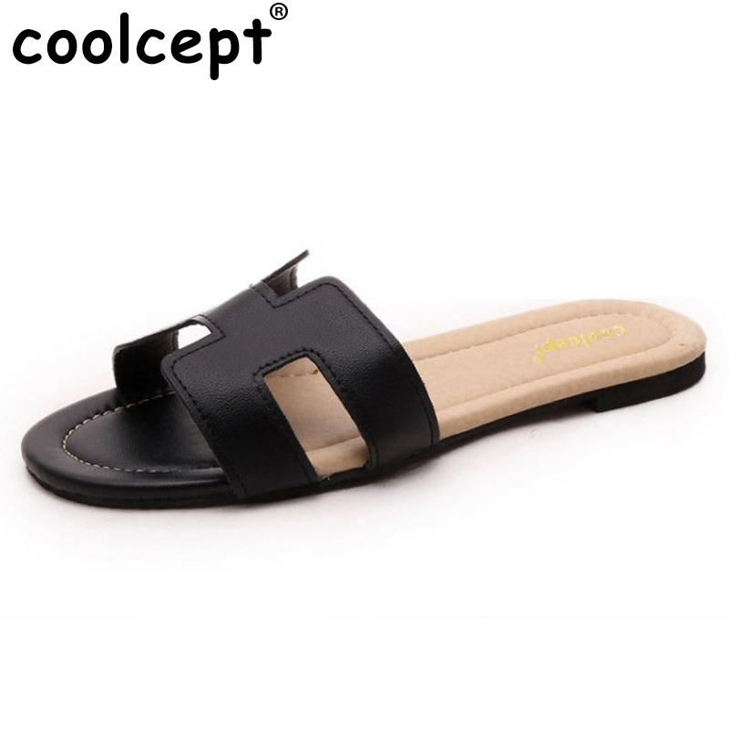 Coolcept female brand leisure sandals comfortable slippers soft summer shoes women beach flip flop ladies footwear size 35-40 summer leisure slippers slip on round toe comfortable sandals women flat sandals casual flip flops female shoes