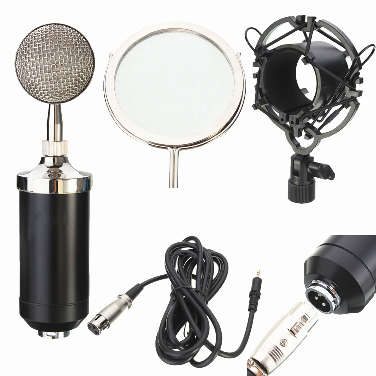 IRIN 3.5mm Professional Sound Studio Recording Microphone Network Singing Podcast Mic Plus Stand Holder Filter Live Equipment