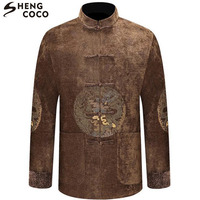 SHENG COCO Men Chinese Tops Costume Male Autumn Chinese Coat Embroidery Tang Clothing