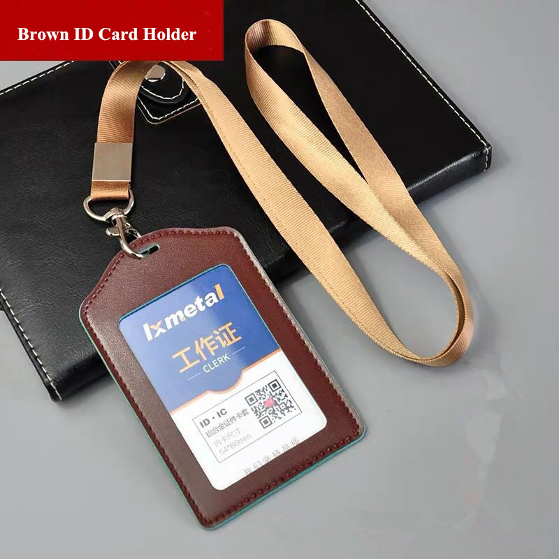PU Leather Work Pass ID Card Badge Holder/Credit Card Holder Name ID Badge Case Holder With Lanyard