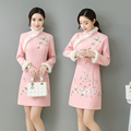 Winter Qipao Dress Woolen Thick Warm Long Sleeve Flower Embroidery Qipao Cheongsam Party Dress Chinese Dress