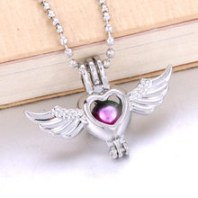 6pcs Silver Heart wings Necklace Bracelet Jewelry Making Pearl Cage Locket Pendant Perfume Diffuser Jewelry For Oyster Pearl(China)
