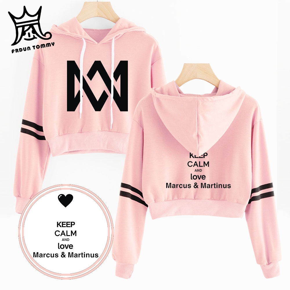 Marcus and Martinus Navel Hoodies Hip Hop New Casual Fashion women Hoodies Outwear High Street Marcus & Martinus Sexy Sweatshirt(China)