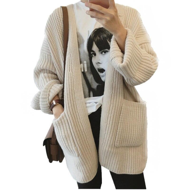 Automne hiver Cardigan chandail décontracté poche tricoté à manches longues Cardigan chandail hauts lâche dames tricoté Cardigan Q527