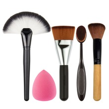 цена на Beginne New Promotion !!! Two Makeup Brush+Powder Blush Foundation Brush+Sponge Puff + contour brush set de brochas maquillaje