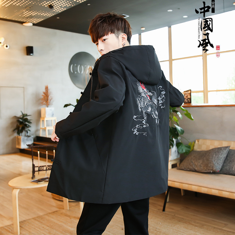 New autumn and winter men's jacket Chinese style kirin embroidered coat thin casual hooded jacket long national men clothing