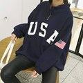 Hoodies do velo Das Mulheres Hip Pop Streetwear Gola da Longo-Luva Solto Carta Impressão Moletom Outerwear Tb12 Z20