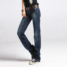 Фотография New Fashion blue straight baggy boyfriend jeans for women easy jeans femme dungarees denim pants