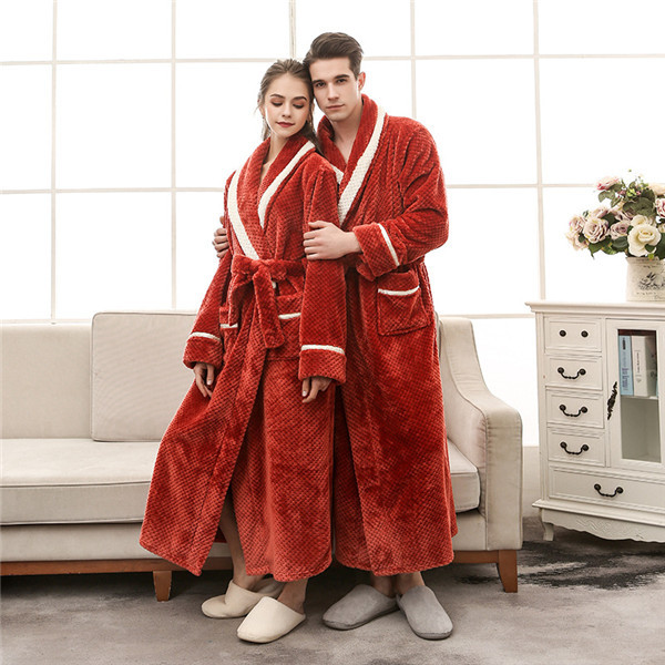 Women Winter Thick Warm Coral Fleece Kimono Bathrobe Gown Robe Dress Lovers Yukata Nightwear Pijama Sleepwear Plus Size XXXL
