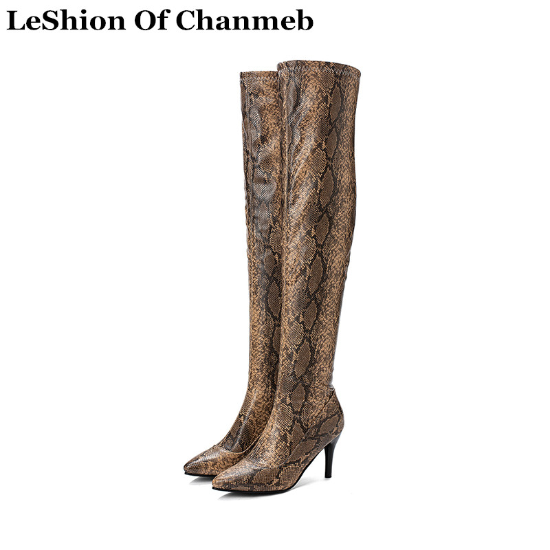 Over-The-Knee-Boots Tall Boots Snake Pointed-Toe High-Heels Size-33-48 Women Ladies Print