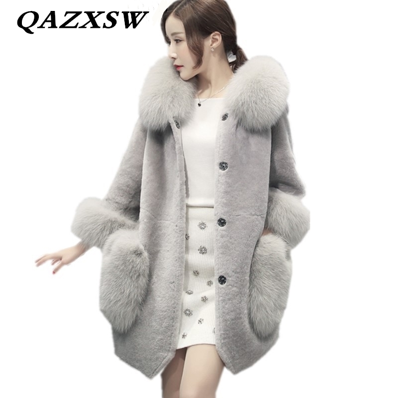 2019 New Autumn Winter Women Fur Coat Thick Fox Fur Collar Shorn Sheep Skin Jacket Fashion Solid Mid-length One Fur Coats CW197