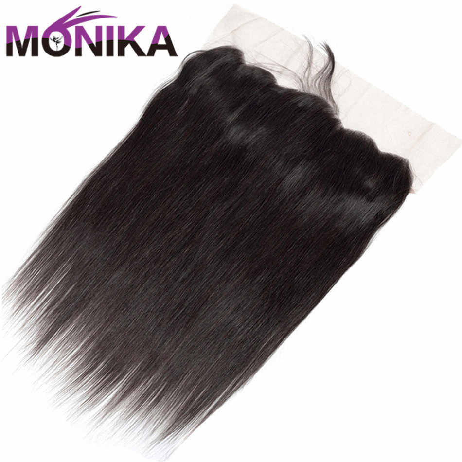 Monika Hair Peruvian Straight Human Hair Lace Frontal Closure 13x4 Ear To Ear Lace Closure Frontal Non Remy Human Hair Extension