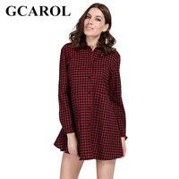 GCAROL 2018 Early Spring British Style Women Plaid Dress Turn Down Collar A Line Shirt Dress