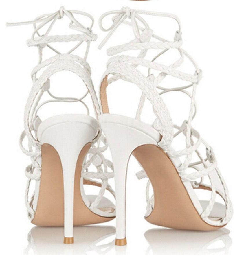 Nouveau découpé design cuir peep talons cross sandales toe en tressé à 6Ir7w6q