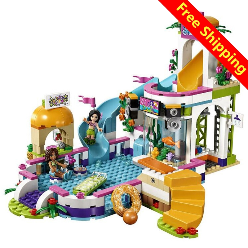 Lepin 01013 Friends 589pcs Building Blocks toy Heart Lake City Summer swimming pool kids Bricks toys girl gifts Compatible Legoe heart shape ru bun lock children puzzle toy building blocks