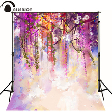 Allenjoy Photographic background Branches purple hazy painting newborn vinyl backdrops  photo for studio camera fotografica wood