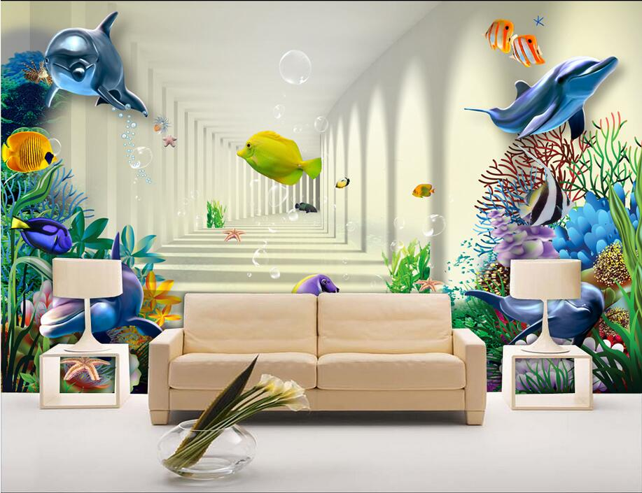 Custom photo Non-woven mural 3d wallpapers for living room Dolphins swim corridor background painting 3d wall murals wallpaper