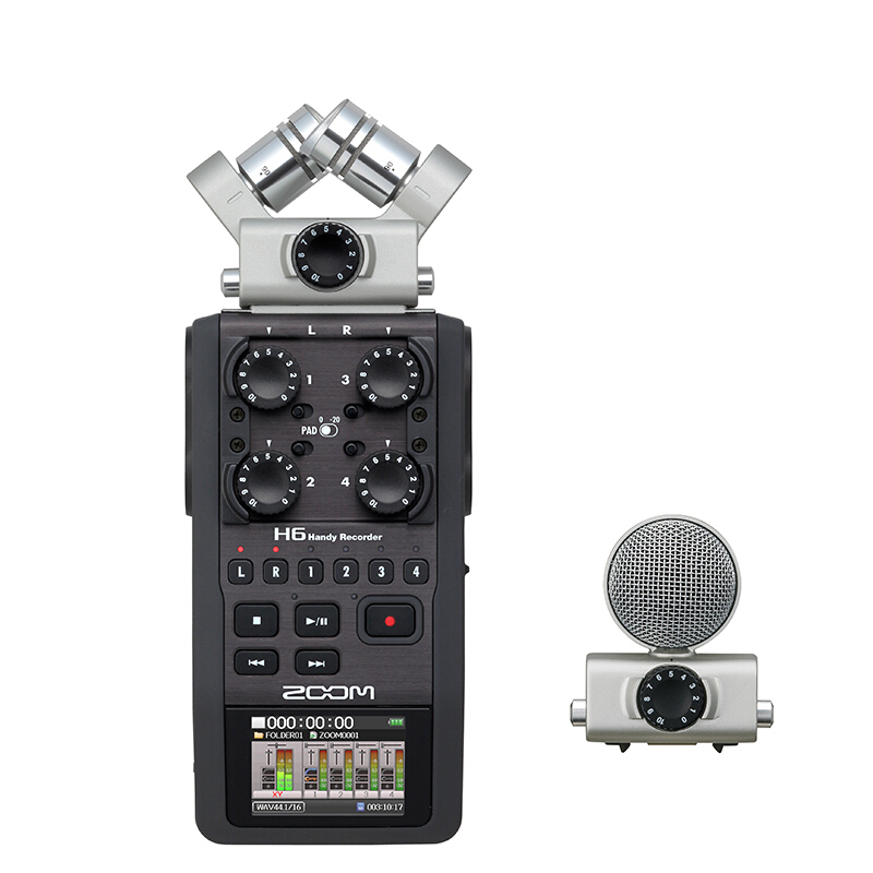 Zoom H6 portable professional handheld digital recorder H4N upgraded section Handy 6-Track for interview with 2GB digitalfoto professional portable four track zoom h4nsp handy recorder digital audio recorder microphone for interview