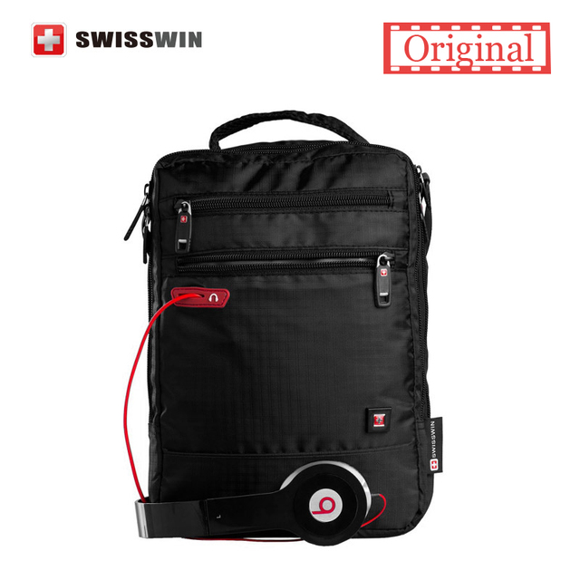 Swisswin сумка маленькая сумка для таблеток и документы мужская черная  сумка 11-inch кроссбоди сумки a10d39ee8a0
