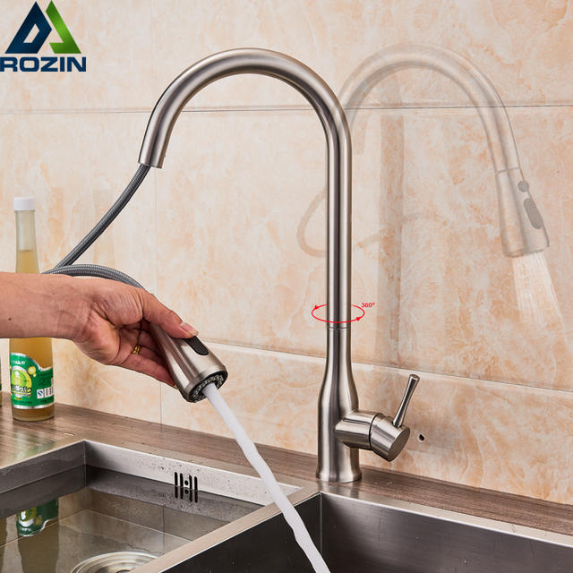 Brushed Nickel Pull Out Spout Kitchen Faucet Stream Sprayer Bathroom