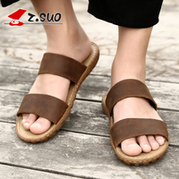 Z.Suo 2019 Brown Men Slippers Big Size 45 46 47 Genuine Leather Outdoor Mens Flip Flops Fashion Beach Sandals Shoes For Men 619N