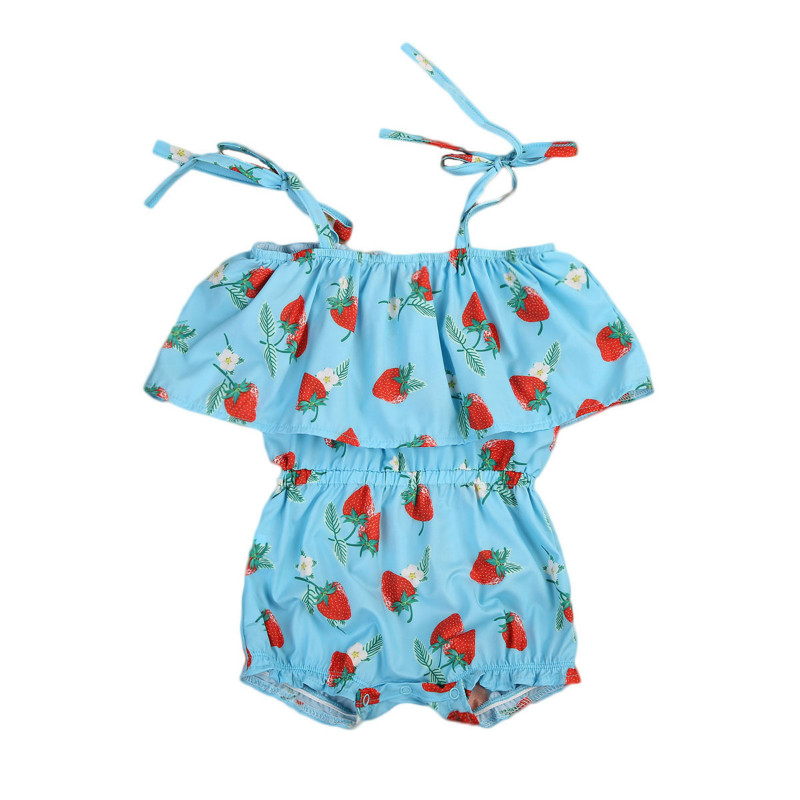Newborn Infant Baby Girls Cotton Strawberry Print Strapless Ruffles Romper Kids Summer Outfits Playsuit Jumpsuit Sunsuit Clothes 2pcs ruffles newborn baby clothes 2017 summer princess girls floral dress tops baby bloomers shorts bottom outfits sunsuit 0 24m