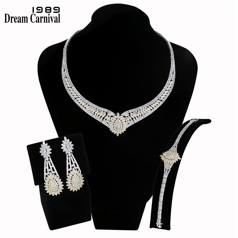 DreamCarnival 1989 Роскошные ювелирные украшения наборы для женщин 2 Tone позолоченный циркониевый Свадебные Bijoux Ближний Восток Дубай Лидер продаж