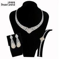 DreamCarnival 1989 Роскошные ювелирные украшения наборы для ухода за кожей для Для женщин 2 тон позолоченный циркониевый Свадебные Bijoux (украшения св