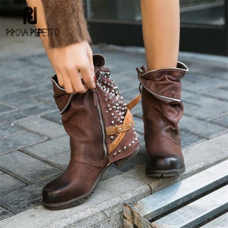 Prova Perfetto Rivets Studded Ankle Boots for Women Autumn Winter Handmade High Boots Platform Rubber Flat Shoes Woman Botas prova perfetto yellow women mid calf boots fashion rivets studded riding boots lace up flat shoes woman platform botas militares
